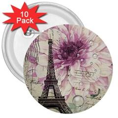 Purple Floral Vintage Paris Eiffel Tower Art 3  Button (10 pack)