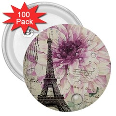 Purple Floral Vintage Paris Eiffel Tower Art 3  Button (100 Pack)