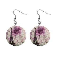 Purple Floral Vintage Paris Eiffel Tower Art Mini Button Earrings