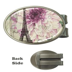Purple Floral Vintage Paris Eiffel Tower Art Money Clip (oval)