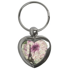 Purple Floral Vintage Paris Eiffel Tower Art Key Chain (heart)