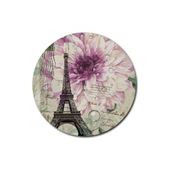 Purple Floral Vintage Paris Eiffel Tower Art Drink Coasters 4 Pack (Round)
