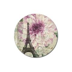 Purple Floral Vintage Paris Eiffel Tower Art Magnet 3  (Round)