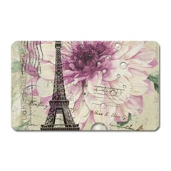 Purple Floral Vintage Paris Eiffel Tower Art Magnet (rectangular)