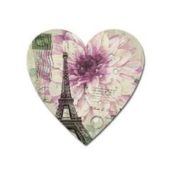 Purple Floral Vintage Paris Eiffel Tower Art Magnet (Heart)