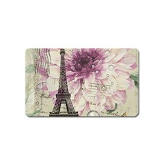 Purple Floral Vintage Paris Eiffel Tower Art Magnet (Name Card)