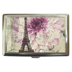 Purple Floral Vintage Paris Eiffel Tower Art Cigarette Money Case