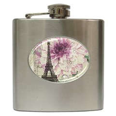 Purple Floral Vintage Paris Eiffel Tower Art Hip Flask