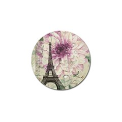 Purple Floral Vintage Paris Eiffel Tower Art Golf Ball Marker
