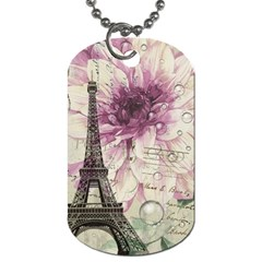 Purple Floral Vintage Paris Eiffel Tower Art Dog Tag (Two-sided)