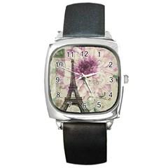 Purple Floral Vintage Paris Eiffel Tower Art Square Leather Watch