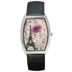 Purple Floral Vintage Paris Eiffel Tower Art Tonneau Leather Watch