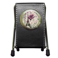 Purple Floral Vintage Paris Eiffel Tower Art Stationery Holder Clock