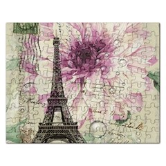 Purple Floral Vintage Paris Eiffel Tower Art Jigsaw Puzzle (rectangle)