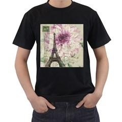 Purple Floral Vintage Paris Eiffel Tower Art Mens' Two Sided T Shirt (black)