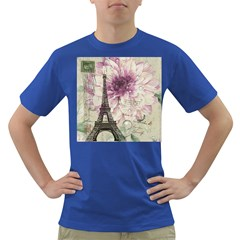 Purple Floral Vintage Paris Eiffel Tower Art Mens' T Shirt (colored)