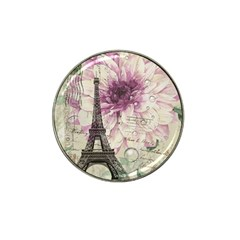 Purple Floral Vintage Paris Eiffel Tower Art Golf Ball Marker (for Hat Clip)