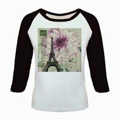 Purple Floral Vintage Paris Eiffel Tower Art Women s Long Cap Sleeve T Shirt