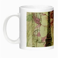 Purple Floral Vintage Paris Eiffel Tower Art Glow In The Dark Mug