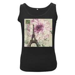 Purple Floral Vintage Paris Eiffel Tower Art Womens  Tank Top (Black)