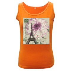 Purple Floral Vintage Paris Eiffel Tower Art Womens  Tank Top (Dark Colored)