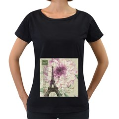 Purple Floral Vintage Paris Eiffel Tower Art Womens' Maternity T Shirt (black)