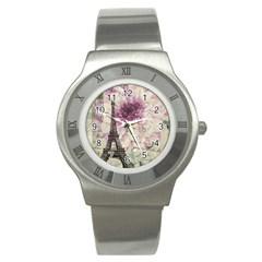 Purple Floral Vintage Paris Eiffel Tower Art Stainless Steel Watch (Unisex)