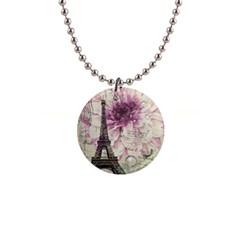 Purple Floral Vintage Paris Eiffel Tower Art Button Necklace