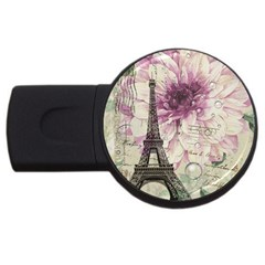 Purple Floral Vintage Paris Eiffel Tower Art 4gb Usb Flash Drive (round)