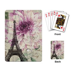 Purple Floral Vintage Paris Eiffel Tower Art Playing Cards Single Design