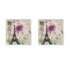 Purple Floral Vintage Paris Eiffel Tower Art Cufflinks (Square)