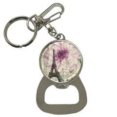 Purple Floral Vintage Paris Eiffel Tower Art Bottle Opener Key Chain