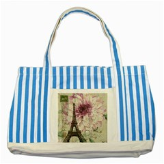 Purple Floral Vintage Paris Eiffel Tower Art Blue Striped Tote Bag