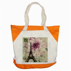 Purple Floral Vintage Paris Eiffel Tower Art Accent Tote Bag