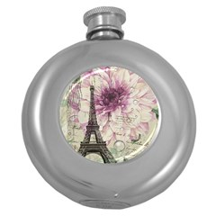 Purple Floral Vintage Paris Eiffel Tower Art Hip Flask (Round)