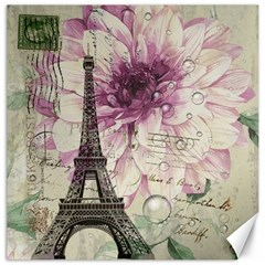 Purple Floral Vintage Paris Eiffel Tower Art Canvas 12  x 12  (Unframed)