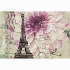 Purple Floral Vintage Paris Eiffel Tower Art Canvas 12  X 18  (unframed)