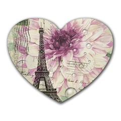 Purple Floral Vintage Paris Eiffel Tower Art Mouse Pad (Heart)