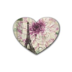 Purple Floral Vintage Paris Eiffel Tower Art Drink Coasters 4 Pack (Heart)