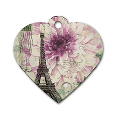 Purple Floral Vintage Paris Eiffel Tower Art Dog Tag Heart (Two Sided)