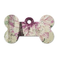 Purple Floral Vintage Paris Eiffel Tower Art Dog Tag Bone (Two Sided)