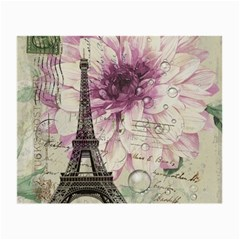 Purple Floral Vintage Paris Eiffel Tower Art Glasses Cloth (Small, Two Sided)