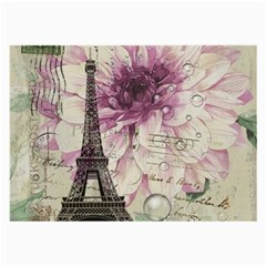 Purple Floral Vintage Paris Eiffel Tower Art Glasses Cloth (Large, Two Sided)