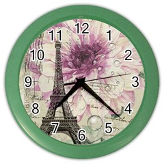 Purple Floral Vintage Paris Eiffel Tower Art Wall Clock (Color)