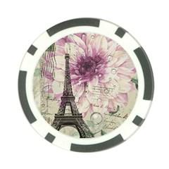 Purple Floral Vintage Paris Eiffel Tower Art Poker Chip