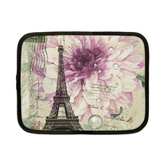 Purple Floral Vintage Paris Eiffel Tower Art Netbook Case (Small)