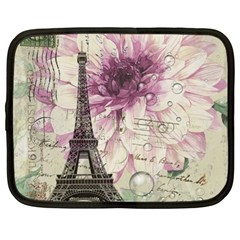 Purple Floral Vintage Paris Eiffel Tower Art Netbook Case (Large)