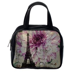 Purple Floral Vintage Paris Eiffel Tower Art Classic Handbag (One Side)