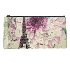 Purple Floral Vintage Paris Eiffel Tower Art Pencil Case