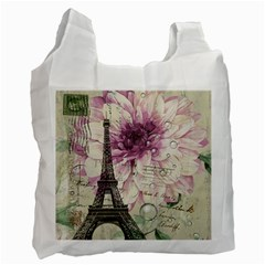 Purple Floral Vintage Paris Eiffel Tower Art Recycle Bag (two Sides)